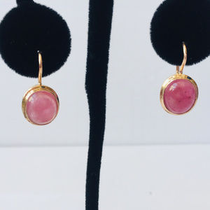 14 kt rose gold Russian origin sapphire earrings